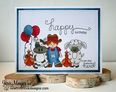 Farm Animal Birthday Card by Jess Moyer | Farmyard Friends Stamp Set by Newton's Nook Designs