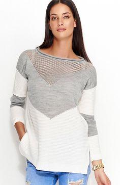 eb86888f893c38 Numinou NU_S29 sweter szary Świetny dwukolorowy sweterek, luźny fason, góra  wykonana z ażurowej dzianiny