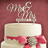 Wedded Couple Personalized Wood Cake Topper w/ Painted Finish - Mr. & Mrs.