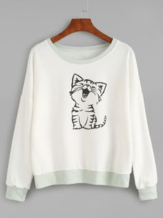 SheIn offers Contrast Trim Cat Print Sweatshirt & more to fit your fashionable needs. Sweatshirts Online, Printed Sweatshirts, Printed Shirts, Sweat Shirt, Cat Sweatshirt, Belted Shirt Dress, Cool Shirts, T Shirts, Pull