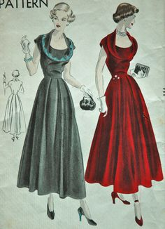 1940's Vogue dress pattern - what a striking cowl neckline!