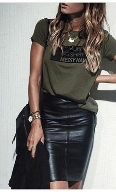 Edgy Looy, Kahki messaging shirt and leather pencil skirt, # pencil skirt - Brenda O. - Edgy Looy, Kahki messaging shirt and leather pencil skirt, – - Look Fashion, Fashion Outfits, Womens Fashion, Beach Fashion, Fashion Ideas, Skirt Fashion, 50 Fashion, Fashion Styles, Fashion Clothes