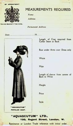 An Edwardian era order card for Aquascutum coats. #vintage #Edwardian #fashion #coats #Aquascutum