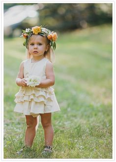 This flower dress is simple but cute. I saw white dresses at Zara that would be suitable.
