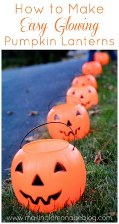 Easy DIY Glowing Pumpkin Lanterns-- they take 60 seconds to make and light your walkways safely!