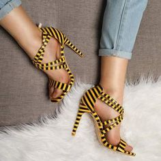Women& Summer Striped Sandals on Thin High Heels High Heels Boots, Hot High Heels, Platform High Heels, High Heels Stilettos, Stiletto Heels, Womens Summer Shoes, Womens High Heels, Summer Outfits, Casual Outfits