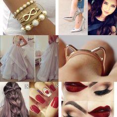 Branco, prateado, dourado e vermelho