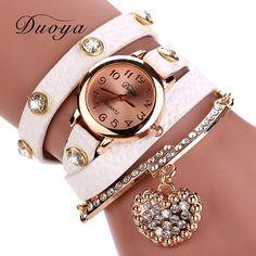 Subiu Relógio de Ouro Mulheres de Luxo Marca de Moda Pingente de Coração…