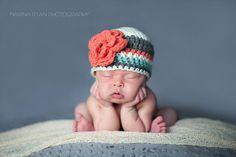 baby girl hat, newborn girl hat, crochet girls hat, girls hat, newborn girls hat, little girl hat, coral teal gray hat by VioletandSassafras on Etsy https://www.etsy.com/listing/183417555/baby-girl-hat-newborn-girl-hat-crochet