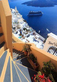 Steps to the Sea, Santorini,Greece
