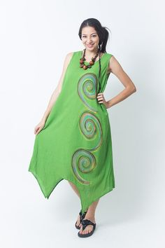Green Gorgeous hand painted Dress with Liner (DR188) / One of a kind / Summer Dress / Hand Painted Tie Dye / Boho / Hippie