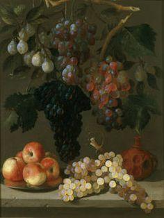 """""""Bodegón de uvas, manzanas y ciruelas"""" Juan de Espinosa. Hacia 1630"""