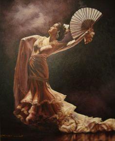 Muted tones Spanish flamenco dancer