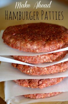 These make ahead hamburger patties are easy to put together and have great flavor. The patties freeze nicely making it a quick and easy freezer meal.