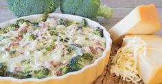 Een hartige taart van broccoli met ham en twee soorten boerenkaas, zónder deeg! Koolhydraatarm en glutenvrij. A Food, Good Food, Food And Drink, Yummy Food, Quiches, Low Carb Quiche, Healthy Recepies, Evening Meals, Pasta