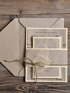 Elegant earthy wedding invite