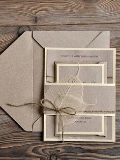 Elegant earthy wedding invite