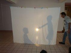 Children moving behend a smiple shadow screen