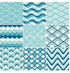 Ocean wave japanese art   Seamless ocean wave pattern vector
