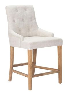 Burbank Counter Chair in Beige Button Tufted Fabric on Oak Wood Legs