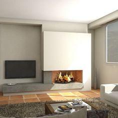 Xemeneia Moderna Arya Fireplace Tv Wall, Fireplace Remodel, Modern Fireplace, Living Room Modern, Living Spaces, Stone House Plans, Home Wall Colour, Living Room Tv Unit Designs, Ideas Hogar