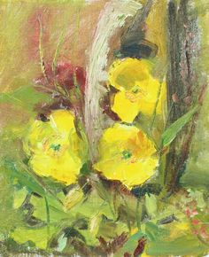 """Yellow Poppies"" oil on canvas board 10x12in"