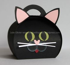 """Today's post will be quick, I would like to show you the """"Cat Curvy Box"""" in more details. Perfect for Halloween or any """"cat lover""""! To make this cute cat box, I used Basic Black card stock and . Cute Box, Punch Art, Small Boxes, Stamping Up, Keepsake Boxes, Craft Fairs, Stampin Up Cards, Cardmaking, Paper Crafts"""
