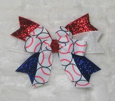 Hey, I found this really awesome Etsy listing at https://www.etsy.com/listing/177812524/girls-bling-ponytail-softball-bow-red