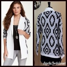 "❗️1-HOUR SALE❗️  Romeo & Juliet Couture Cardigan NEW WITH TAGS RETAIL PRICE: $118   Romeo & Juliet Couture Tribal Aztec Print Cardigan Sweater   * Relaxed fit & open draped front style   * Long sleeves w/ribbed cuffs & ribbed hem detail   * About 36.5"" long; 25.5"" long sleeves   * A beautiful allover Aztec/tribal print & super soft fabric  ***Size S is shown in mannequin Fabric: 100% Acrylic  Color: Ivory-Black Combo   No Trades ✅ Offers Considered*/Bundle Discounts✅  *Please use the 'offer'…"