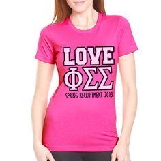 "Sorority Spring Recruitment Shirts ""Sorority Love 2"" Design #Greek #Sorority #Clothing #Recruitment #Rush"