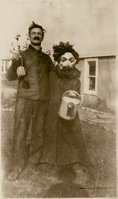 perhaps memorializing this plant's first watering? The mask adds a layer of mystique.