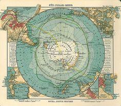 Vintage Antarctica Map. 1906.