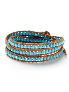 Leather & Crystal Wrap Bracelet
