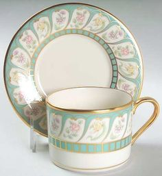 """""""Boheme"""" china pattern with gold and teal accents from Lenox."""