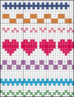 Terrific Pics Cross Stitch borders Suggestions Brain Clutter: Cross stitch pattern: Borders and things Fair Isle Knitting Patterns, Knitting Charts, Knitting Socks, Knitting Stitches, Beginner Knitting, Cross Stitch Boarders, Cross Stitch Designs, Cross Stitching, Cross Stitch Embroidery