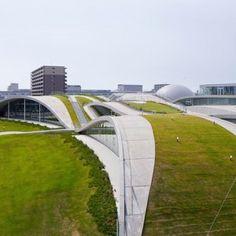 Concrete hills frame the galleries of  Mari Ito's Komatsu science museum