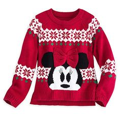 Minnie Mouse Red Bow Holiday Sweater for Girls Ugly Xmas Sweater, Holiday Sweater, Christmas Sweaters, Disney With A Toddler, Baby Disney, Girls Sweaters, Red Sweaters, Personalized Tee Shirts, Disney Outfits