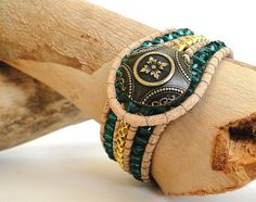 CUSTOM cuff bracelet genuine natural leather wrap bead weaving with turquoise crystal glass gold beads chan luu inspired boho surfer style by ShySu, $35.00