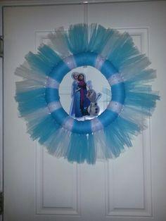 "Frozen wreath,  14"" wreath plus tulle in aqua and white sone rhinestones"