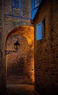 ysvoice:  | ♕ |  Ancient passage at dusk - Sarlat, Dordogne  | by © Frédéric L