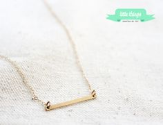 Gold Bar Necklace  Delicate Gold filled Gold by LittleThingsByTCY, $21.00    Celebrity necklace