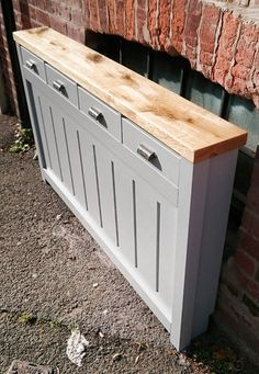 Made to measure bespoke GREY Radiator Cover with storage