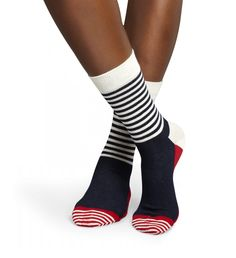Half Stripe Red Cool Men Socks and Women Socks at Happy Socks