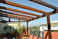 terraza pergola madera color marron ideas