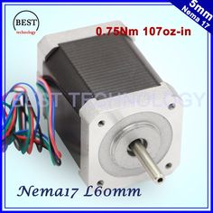 Get Best Price Nema17 stepper motor 0.6A 0.75Nm motor 60mm length 107Oz-in High torque Nema 17 stepper motor 7.5kg.cm For 3D printer #Nema17 #stepper #motor #0.6A #0.75Nm #60mm #length #107Oz-in #High #torque #Nema #7.5kg.cm #printer