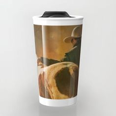 "Artist Promo! 20% off and FREE worldwide Shipping with my code on any of my products in my shop!  https://society6.com/daugustart?promo=XZ3WY26P-Take your coffee to go with a personalized ceramic travel mug.  Double-walled with a press-in suction lid, the two-piece (12oz) design ensures long lasting temperatures while minimizing the risk of spillage from kitchen to car to office. Standing at just over 6"" tall with wrap around artwork, safely sip hot or cold beverages from this one of a kind…"