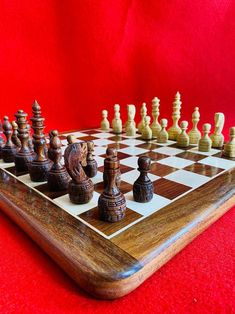 "16"" x 16"" Inch Indian Handmade Sheesham Rose Wood Non Magnetic Premium Handcrafted Best Professional Flat Chess Game Board Set With Pieces."