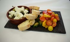 Mother's Day Starter Sharing Platters:  Vegetarian - Feta Cheese, Mixed Olives, Char Grilled Courgettes and Peppers, Yellow and Red Cherry Tomato Salad and Ciabatta Croute  #LondonClubFood