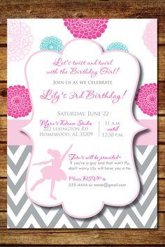Ballerina Birthday Party Invitation on Etsy, $12.00