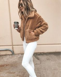 Autumn And Winter Fashion Long-Sleeved Zipper Plush Jacket - Fashion Store Cozy Fall Outfits, Trendy Outfits, Cool Outfits, Sport Outfits, Teddy Bear Jacket, Teddy Coat, Coats For Women, Clothes For Women, Boutique Fashion